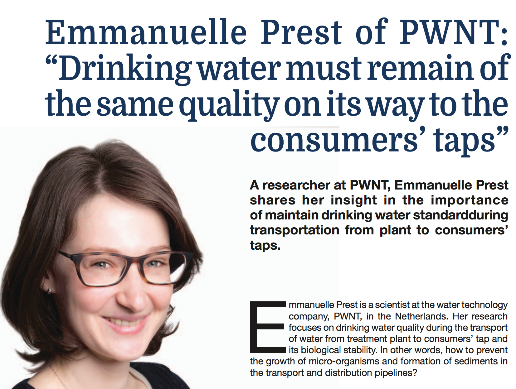 "Emmanuelle Prest Of PWNT: ""Drinking Water Must Remain Of The Same Quality On Its Way To The Consumers' Taps"""
