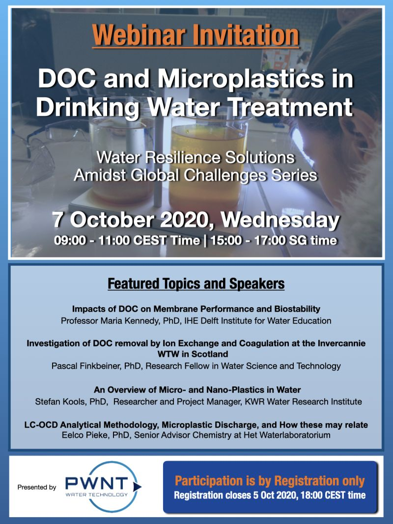 [Webinar Invitation] DOC And Microplastics In Drinking Water Treatment